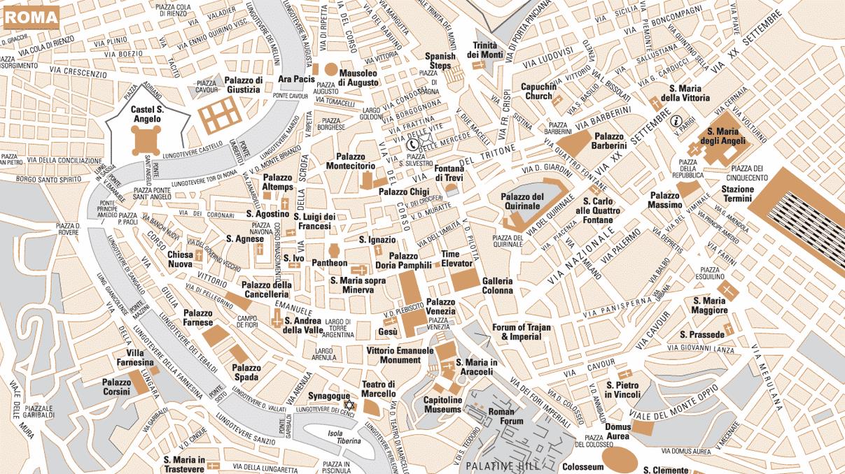 Trastevere roma mapa