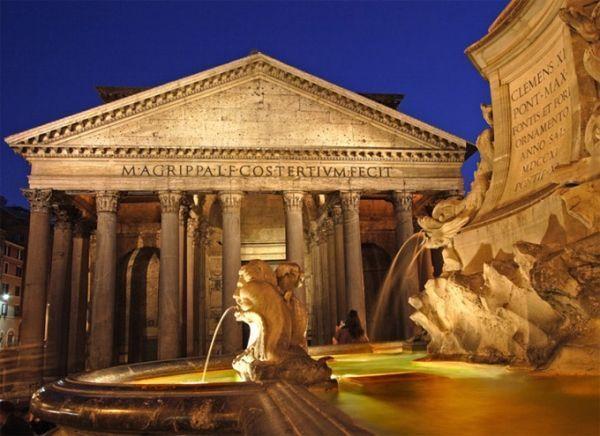 el pantheon de roma de noche