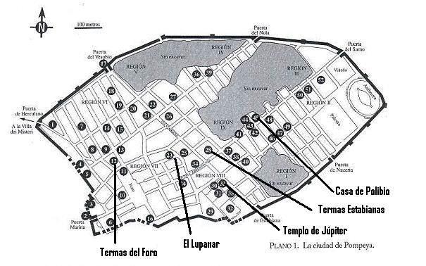 Pompeya mapa y sitios de interés